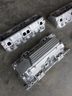 chevy big block parts after vapour blast cleaning